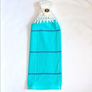 Pretty Blue Crocheted Top Hanging Kitchen Towel